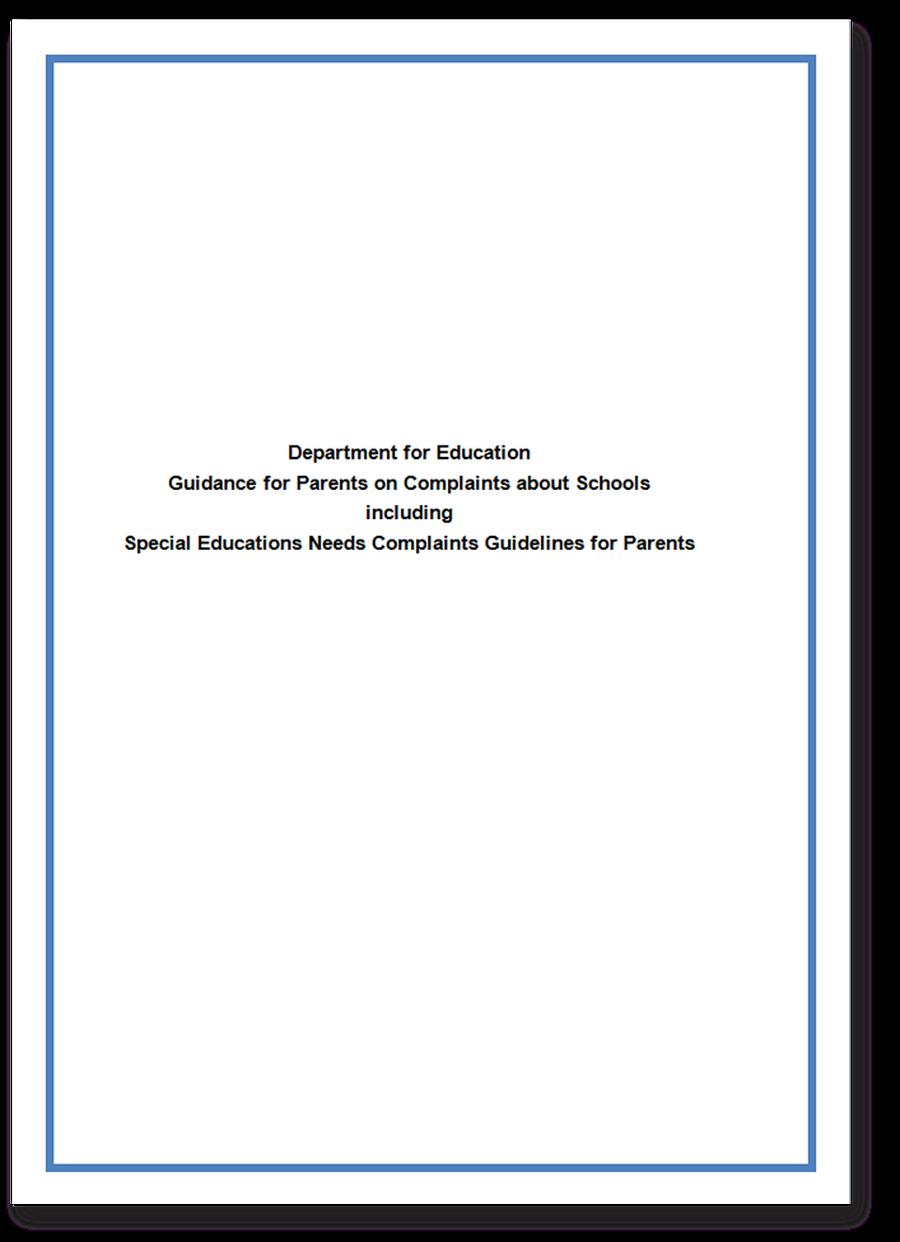 DfE Guidance for parents on complaints.