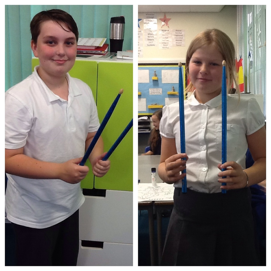 Every Monday afternoon, Class 9 have their percussion lesson. Each week a child is awarded the sticks of wonder if they have tried really hard. Well done to these two children for being awarded the sticks of wonder over the last two week.