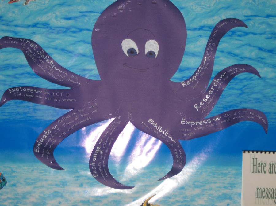 Olly the Octopus, with his 8 arms help us to remember important guidance rules for internet and book research