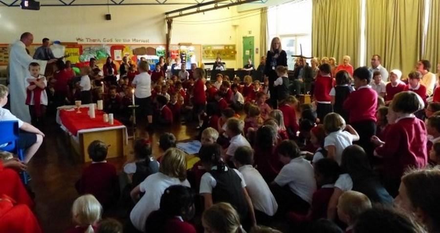Children receiving a blessing