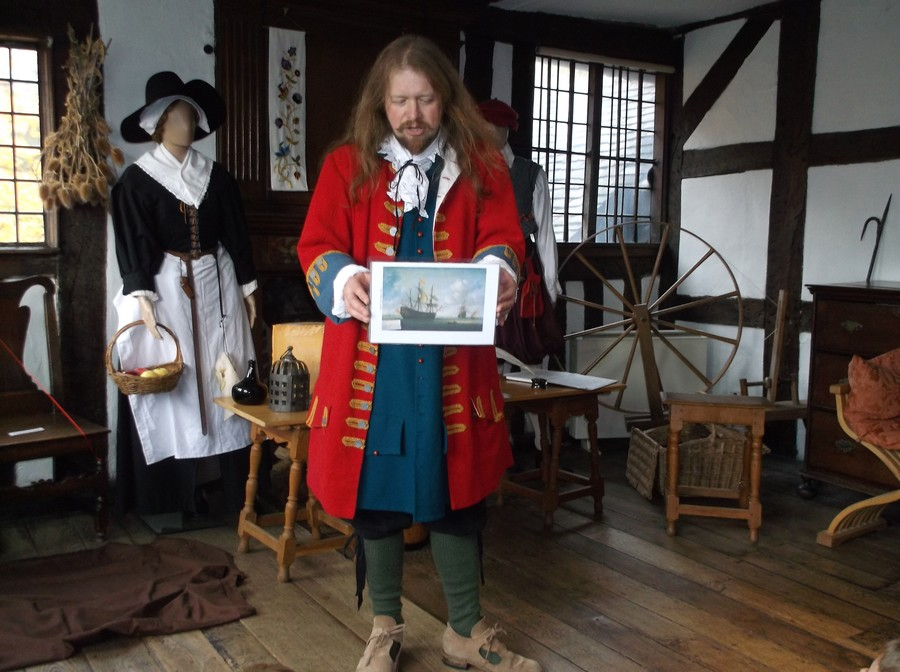 Samuel Pepys talks to the children at Ford Green Hall