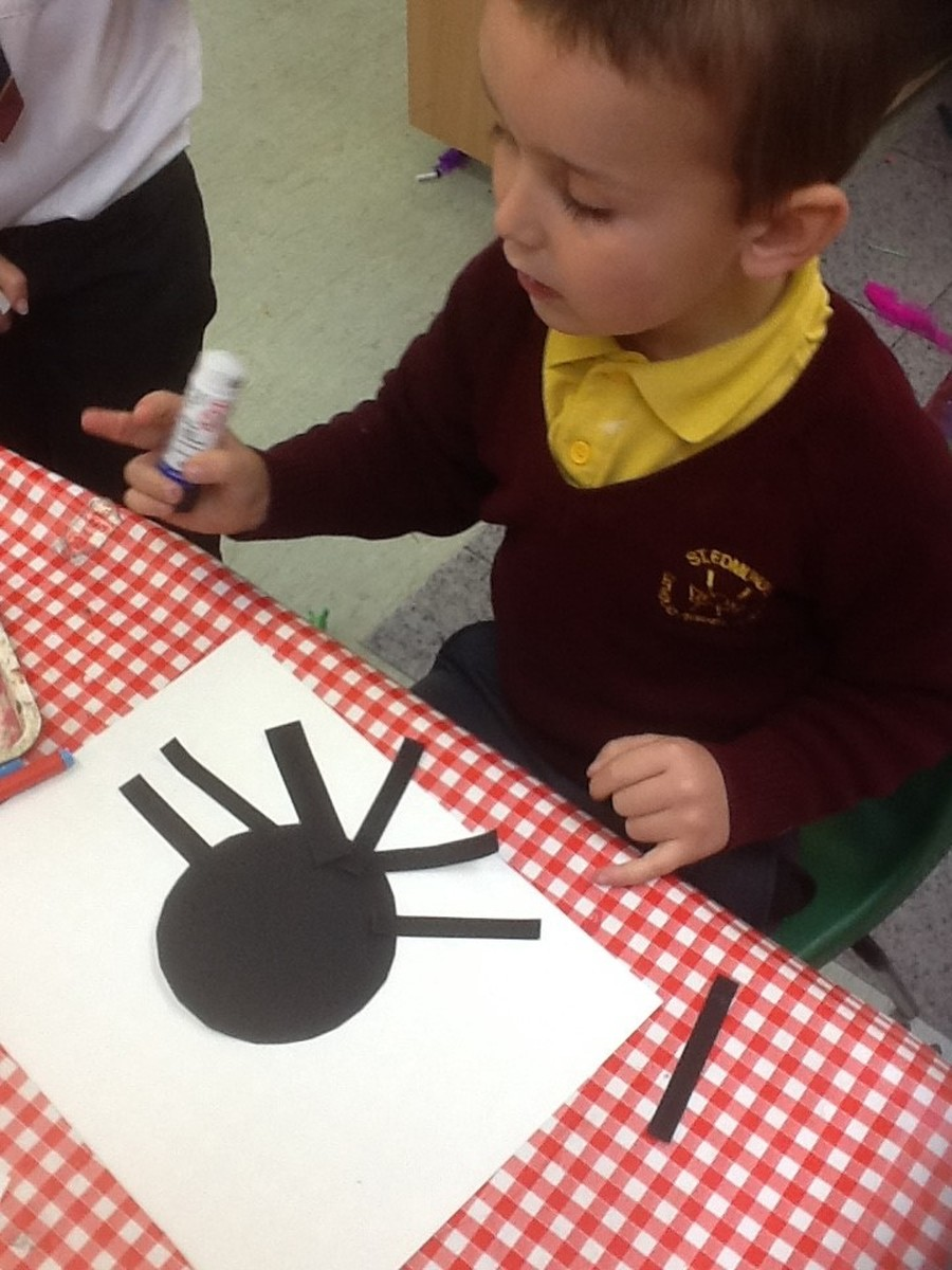 The children have shown a keen interest in minibeasts. We made spiders and carefully counted their legs.