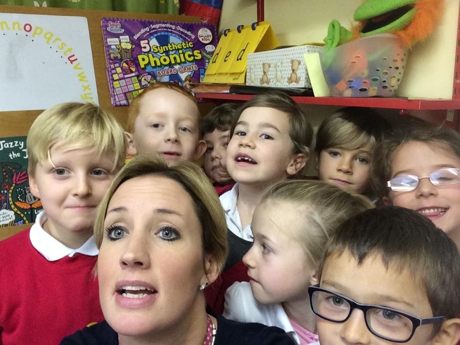 Holton le Clay Infant School Council members (selfie)