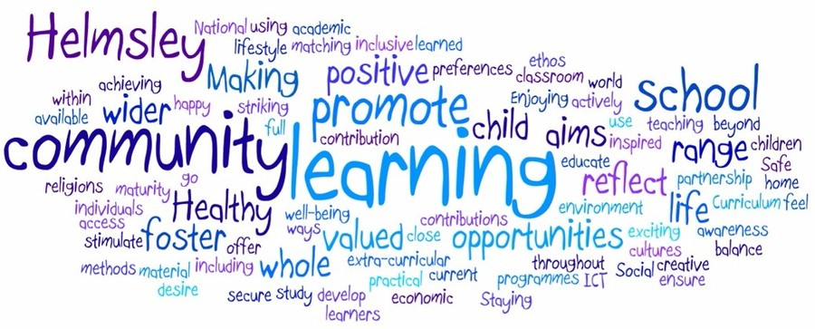 Our schools aims as a word cloud.