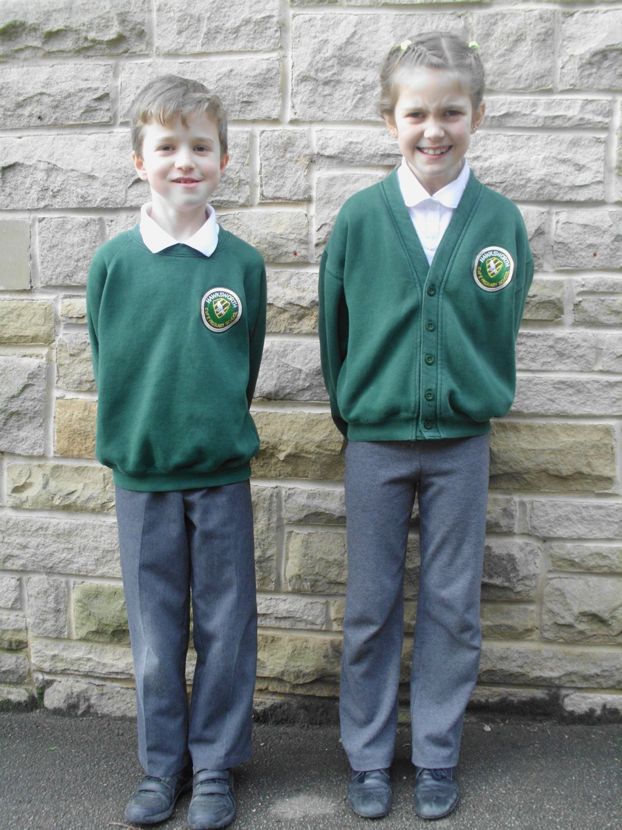 Sam and Lucia modelling our school uniform