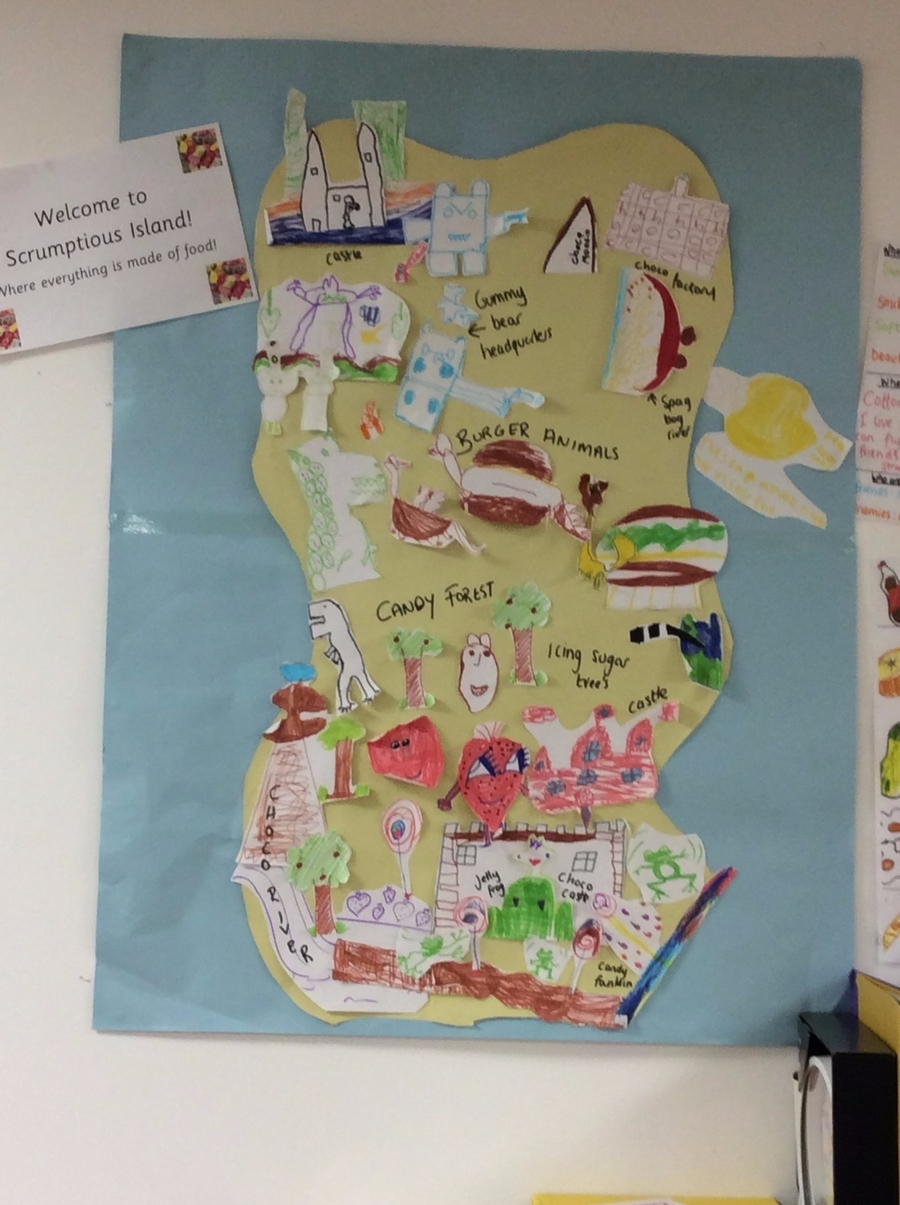 The children created characters that lived on Scrumptious Island.