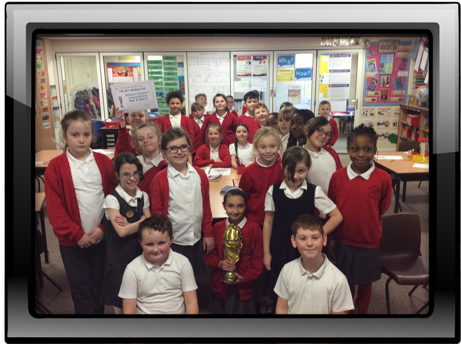 Congratulations to Year4 class 2 on winning the PE kit world cup for Autumn 2