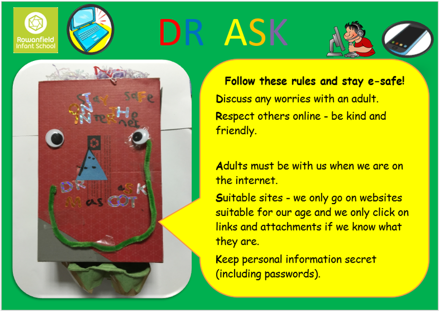 Our E-safety Mascot was designed by Daniel Wright in Sapphire Class