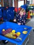 Messy play was red and yellow spaghetti. Very sticky!