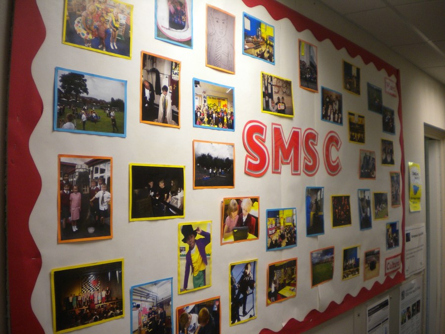 Corridor display celebrating SMSC development at Highfield.