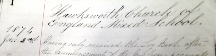 2nd January 1874, first entry in the school's log book  - eleven months before Winston Churchill was born.