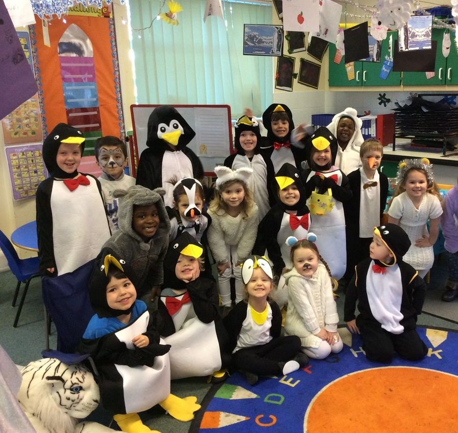Class one at Brington enjoying being dressed as 'Ice World' creatures