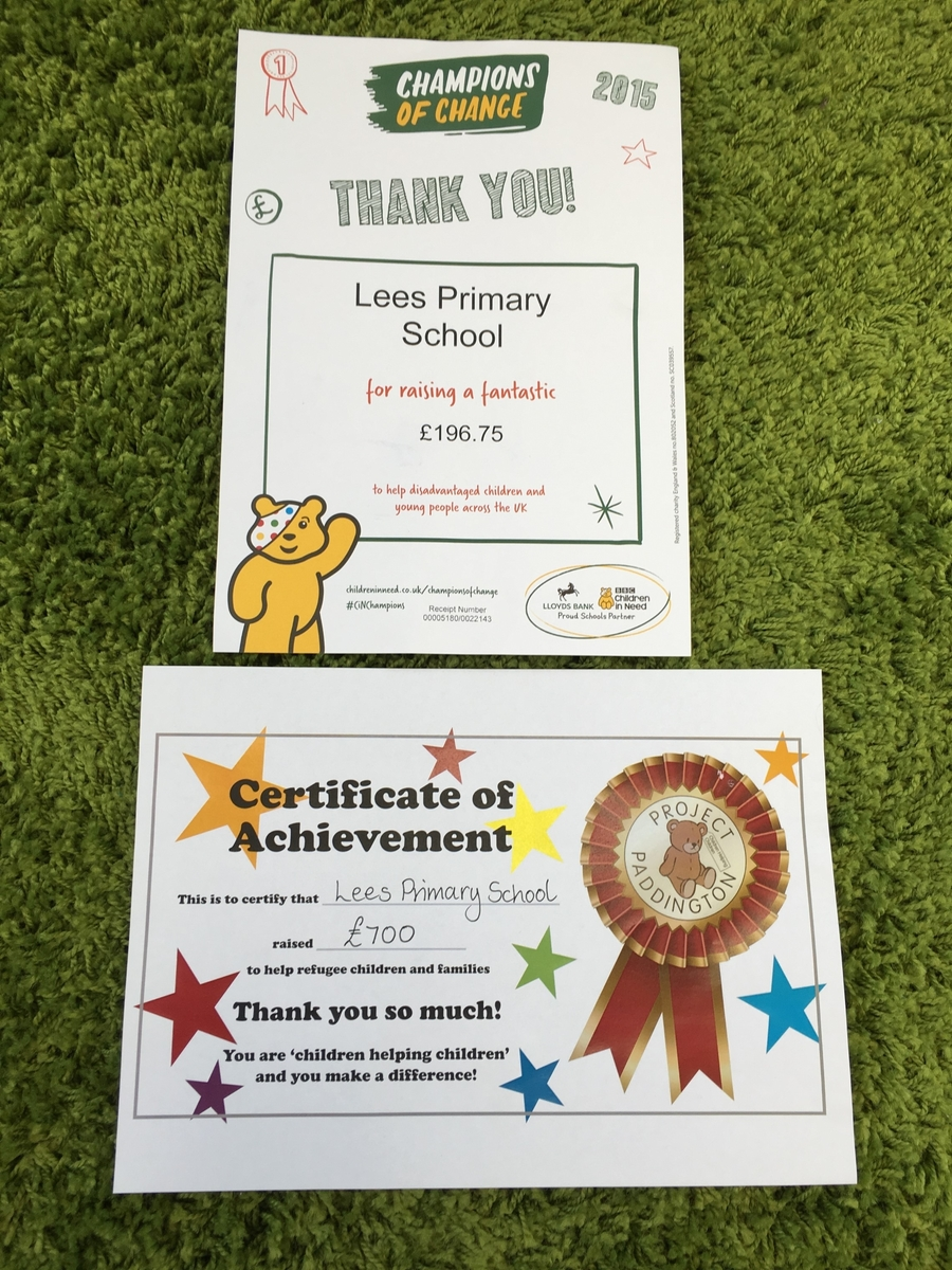 Thank you for helping us raise money for Children in Need and Project Paddington