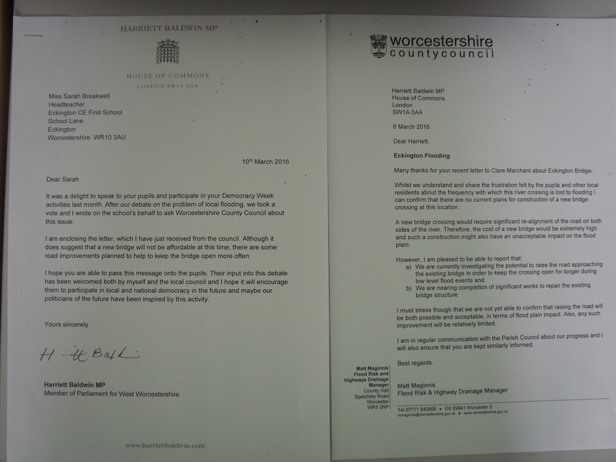 Letters from Harriet Baldwin and Worcestershire County Council regarding her recent visit to school.