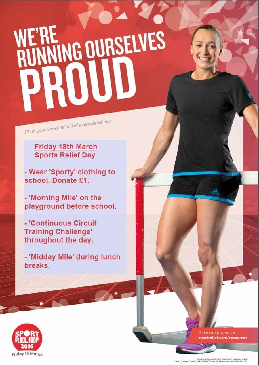 On Friday 18th of March we will be raising money for sport relief. Details of our day are shown above we would be greatful if you could donate £1 to help support this fantastic chariety.