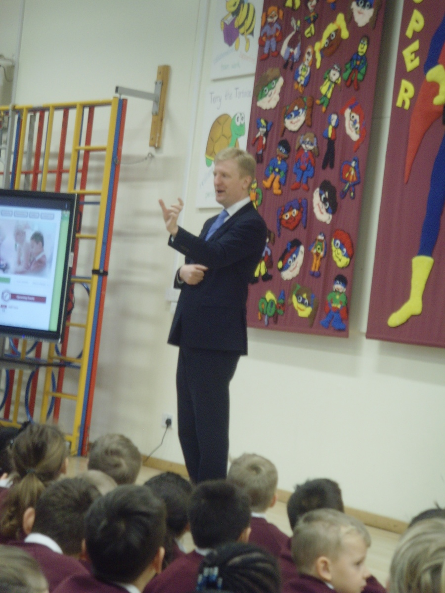 Oliver Dowden local MP visits to talk about democracy