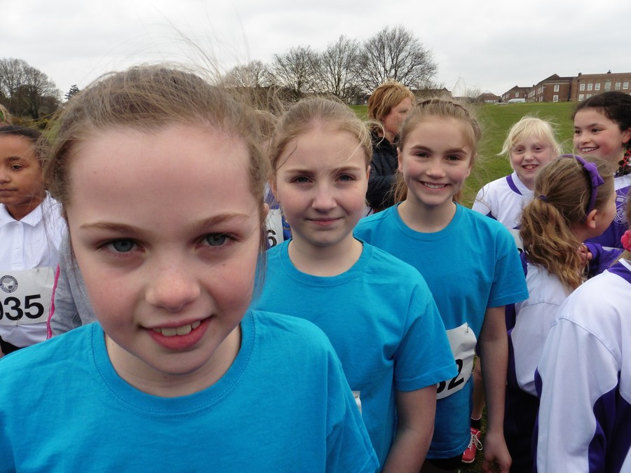 Melissa, Lucy & Iona on the start line of the Year 5 girls race - field of 244 entrants
