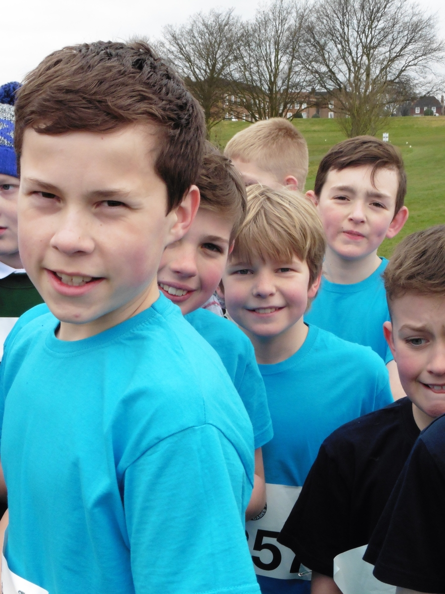 Oliver, Jay, Robert and William on the start line of the Year 6 boys - the most competitive and closely run race of the day with a field of 272 runners!