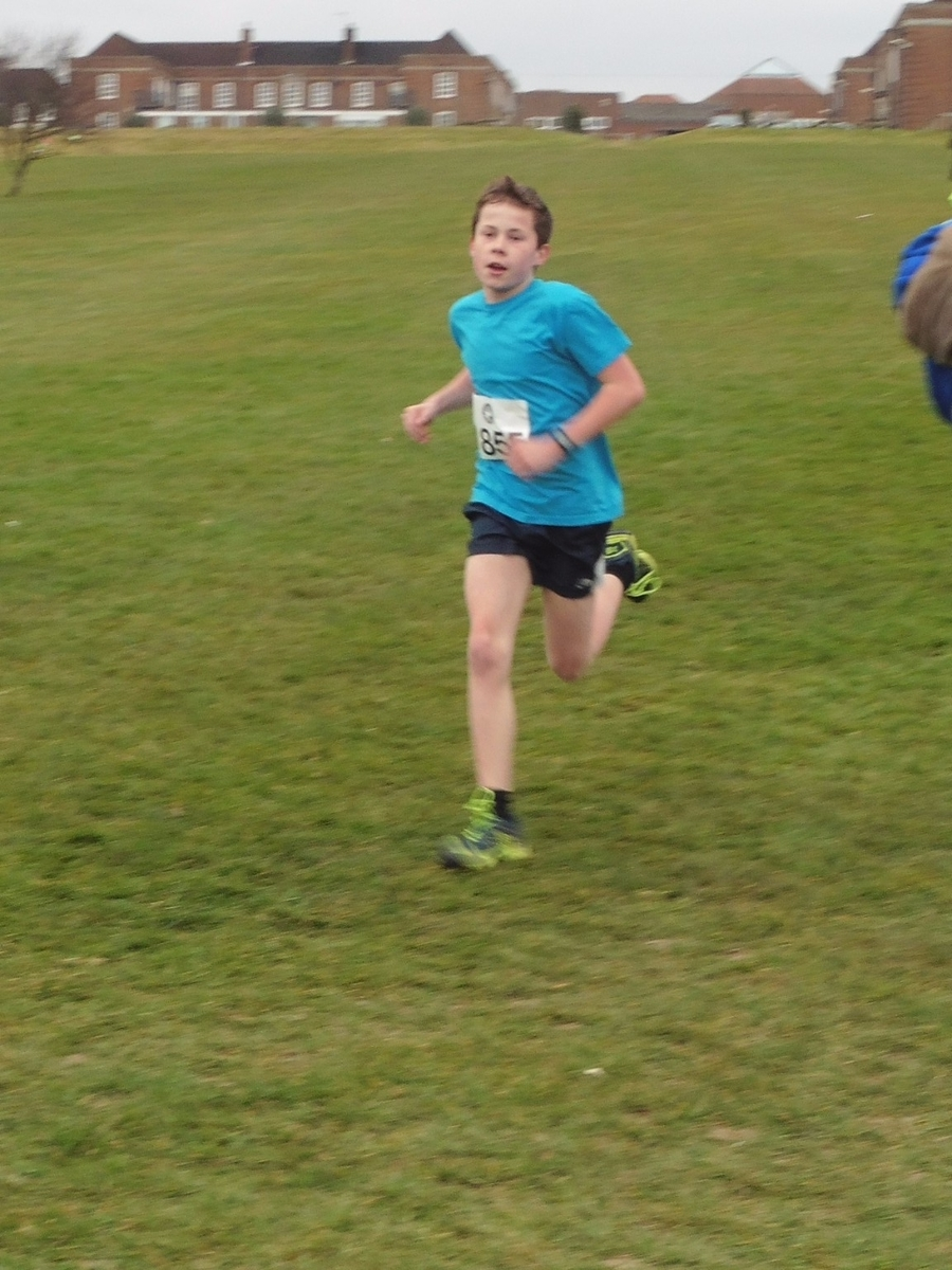 Oliver striding towards the finish line...