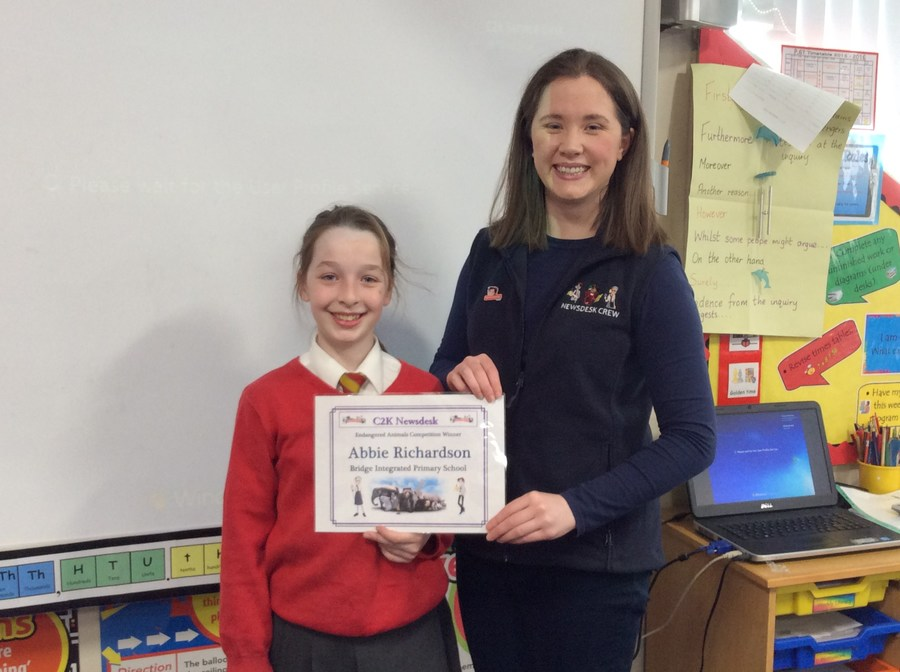 Huge congratulations to Abbie who was one of ten lucky winners in the NewsDesk's recent Endangered Animals Writing competition.  Abbie was delighted to receive her goodie bag, special certificate and badge.