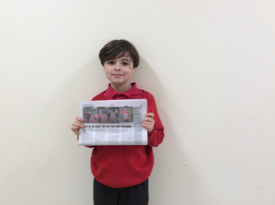 Oliver displays a copy of this week's Banbridge Chronicle, which he himself is featured in.  He is promoting and encouraging as many of us as possible to participate in the Banbridge 10K or fun run on May 25th.  Money raised from the event will be donated to Meningitis Now.   As Oliver turns ten this year and the Bann 10K and Fun Run celebrates its 10th anniversary let's show our support and take steps to fight this disease.