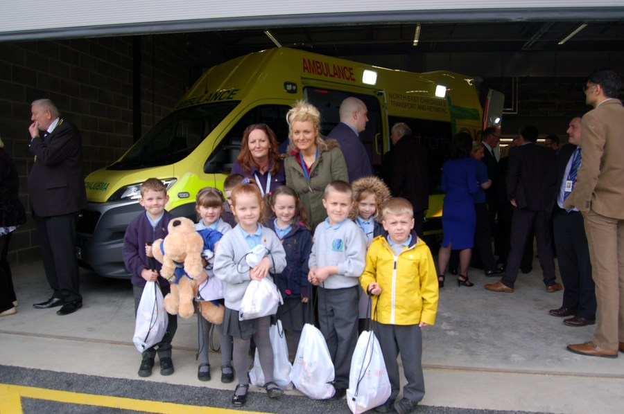 Evie and friends from Blue Group at the opening of the NECTAR ambulance station
