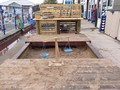 Outdoor sandpit and mud kitchen.