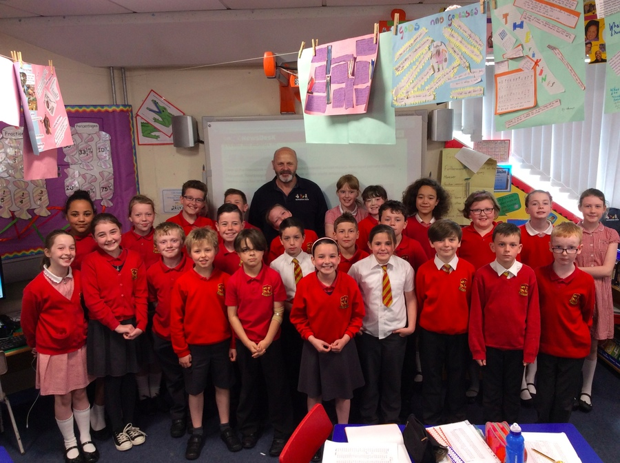 P.6T couldn't believe their luck when David Huntley came in to congratulate them for all of their hard work on the NewsDesk.