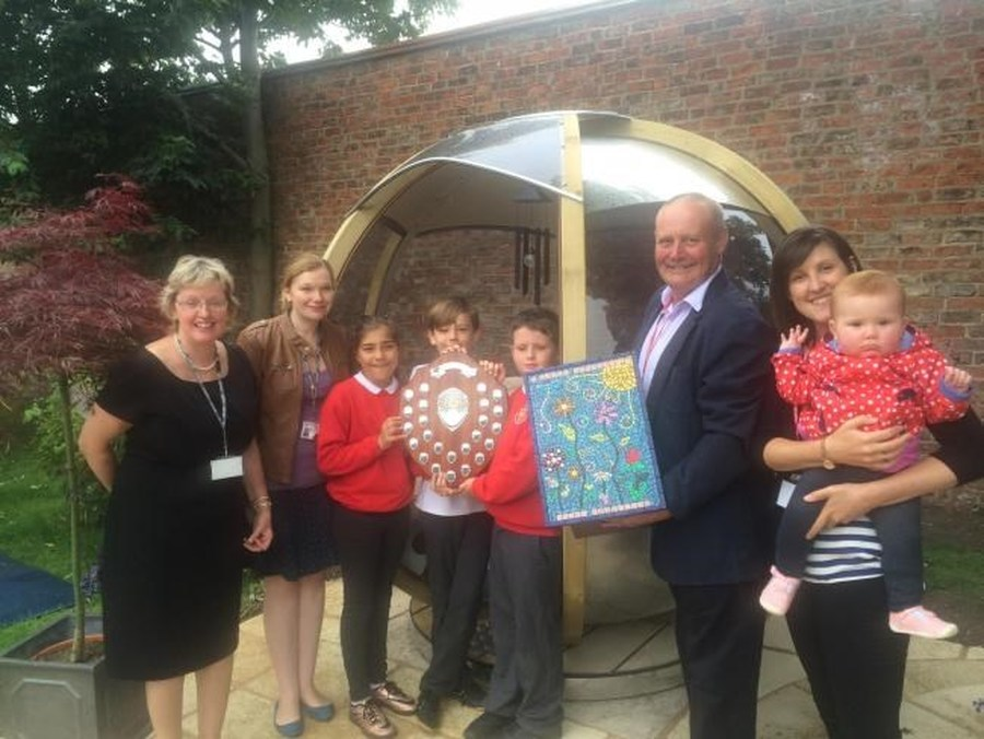 Head teacher Jane Nellar, teacher Sarah Griffiths, Amelia Walker, Daniel Laheney, Parish Edge, Rick Thompson, his daughter Katie Thompson and granddaughter Lydia Thompson