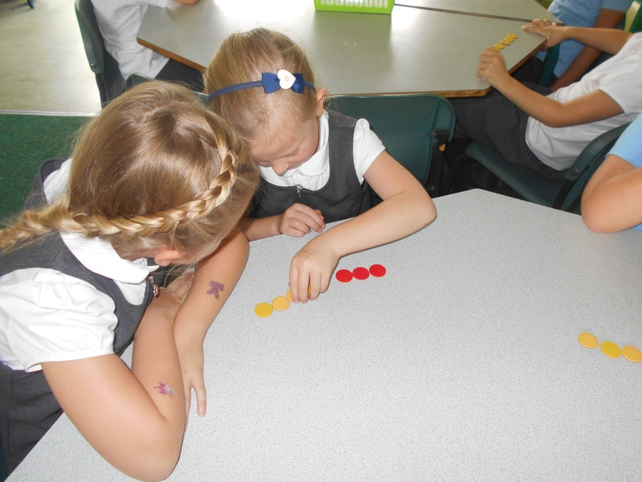 Darcie and Martha worked together to make the number 7