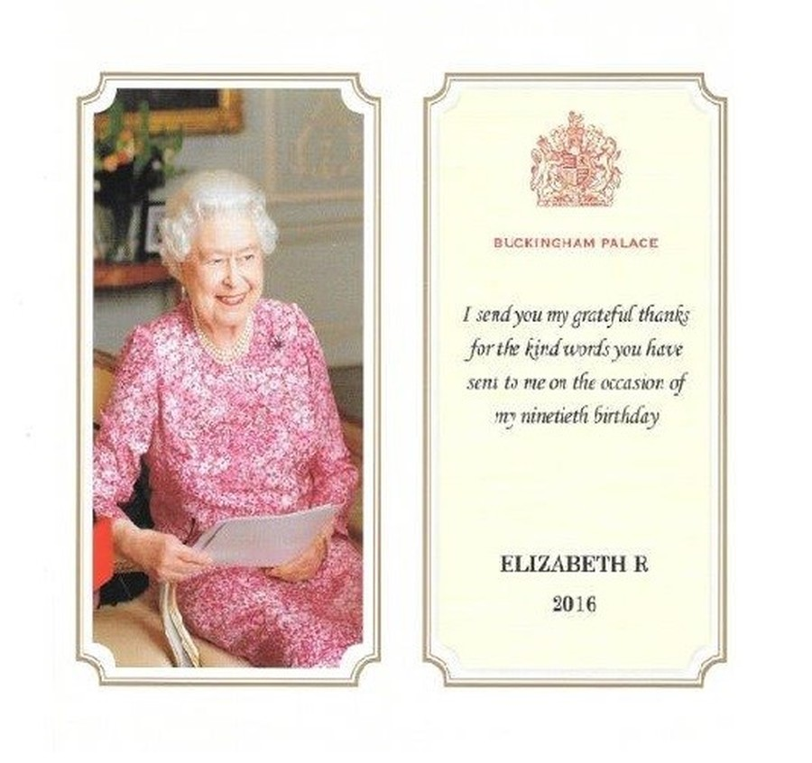 We are so proud to have received this card from The Queen to thank us for the card we sent her to celebrate her 90th birthday.  We also received a letter from Balmoral Castle.