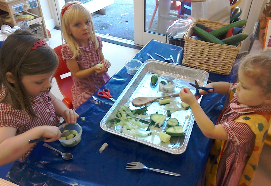 Making snozcumbers for Roald Dahl day