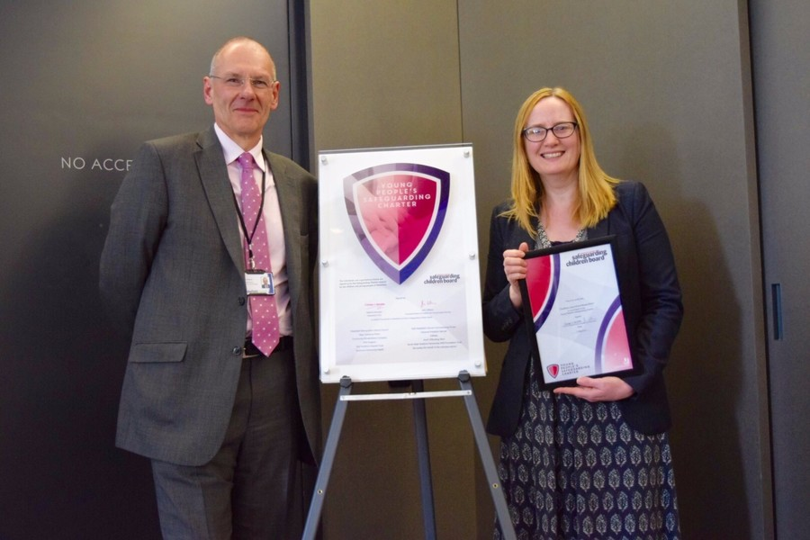 Our Head Teacher with the Corporate Director of Children and Young People's Services at the Official Launch of the Wakefield Young People's Charter.