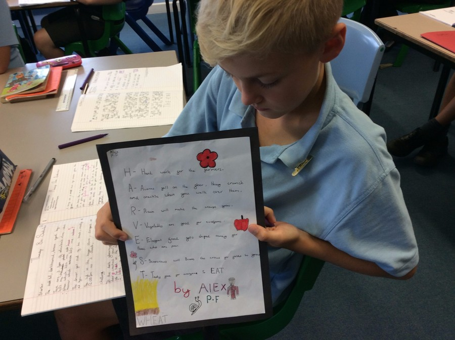 To celebrate Harvest, Owls wrote acrostic poems.