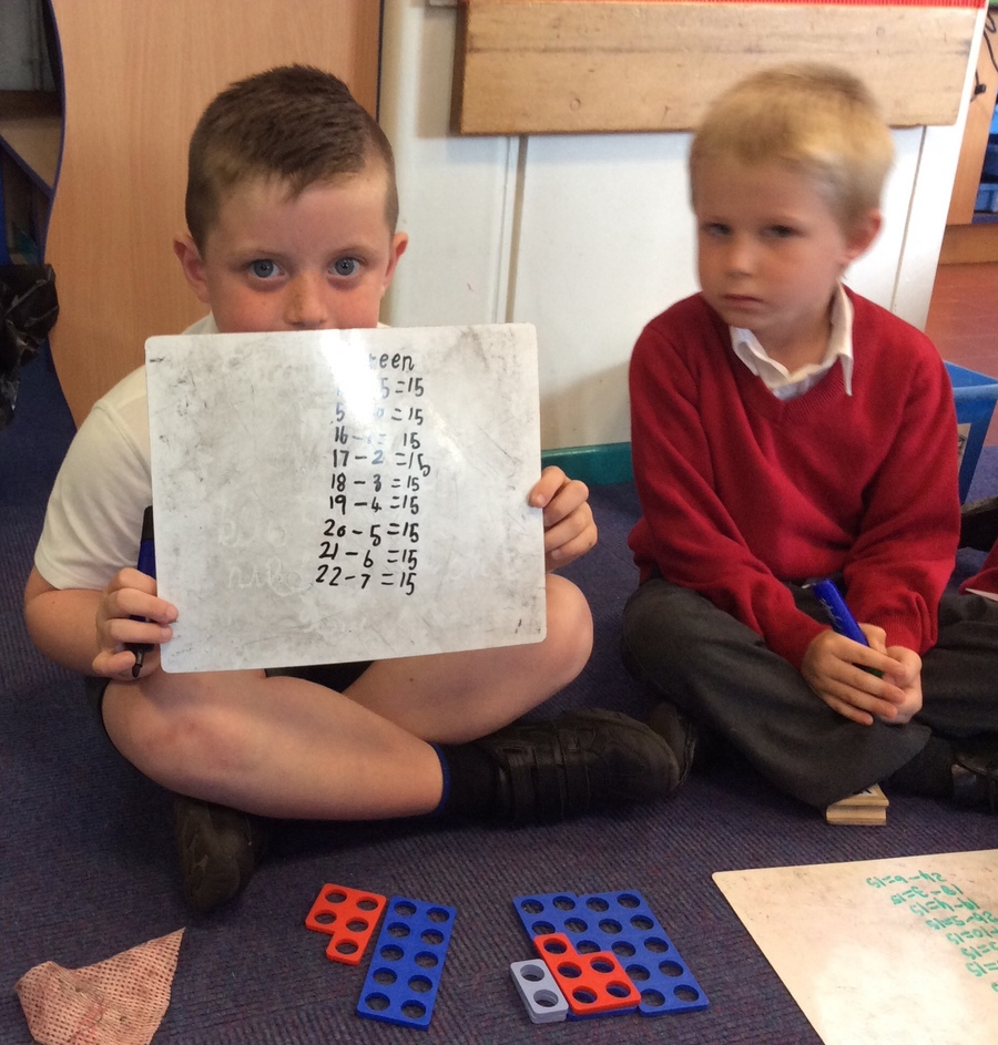 Year Ones are becoming experts at addition and subtraction. Here they are using numicon to find different ways of making number 15. Oliver has spotted a pattern!
