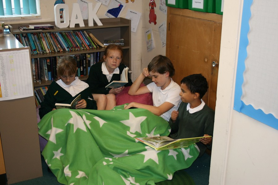 Enjoying our book corner