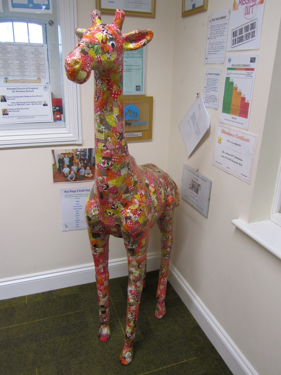 A collective craft club creation! He has pride of place in our office entrance to welcome visitors to the school!