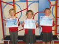 Eva, Lilly and Meya received their swimming certificates