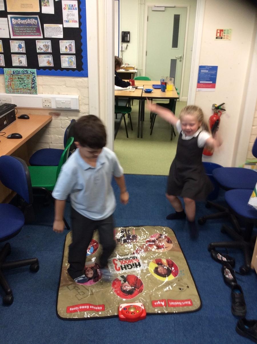 Having fun with the dance mat.