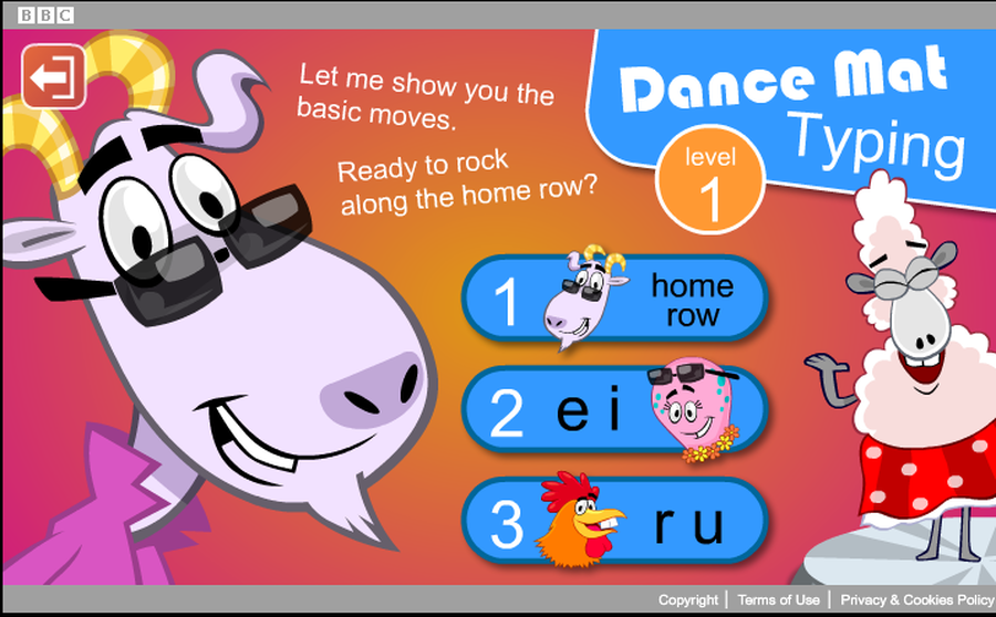 BBC Dance Mat Typing Tutor
