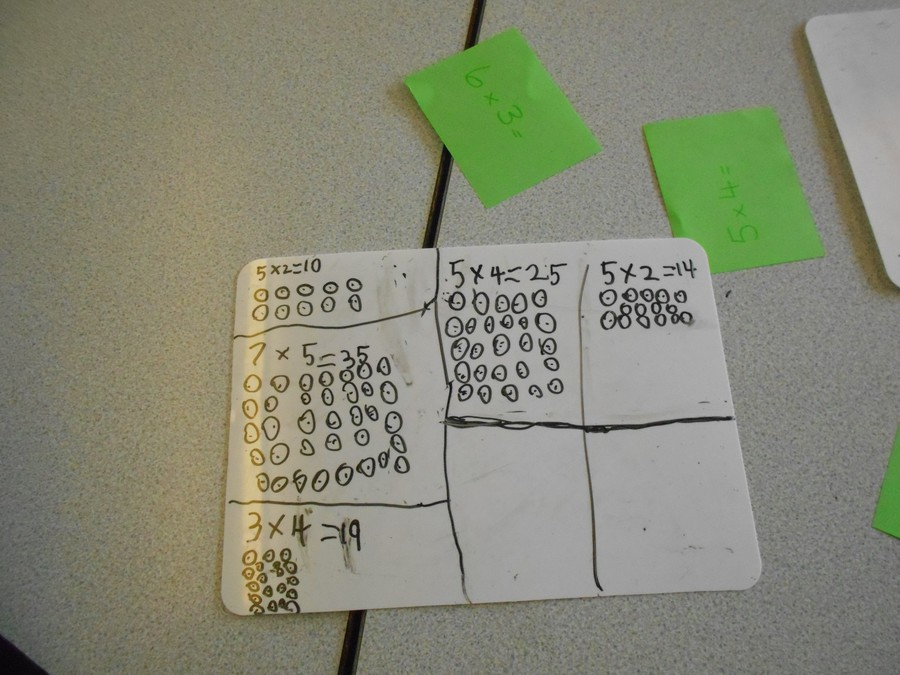 We drew arrays to help us solve our multiplication problems.