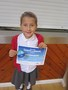 Sophia received a swimming certificate