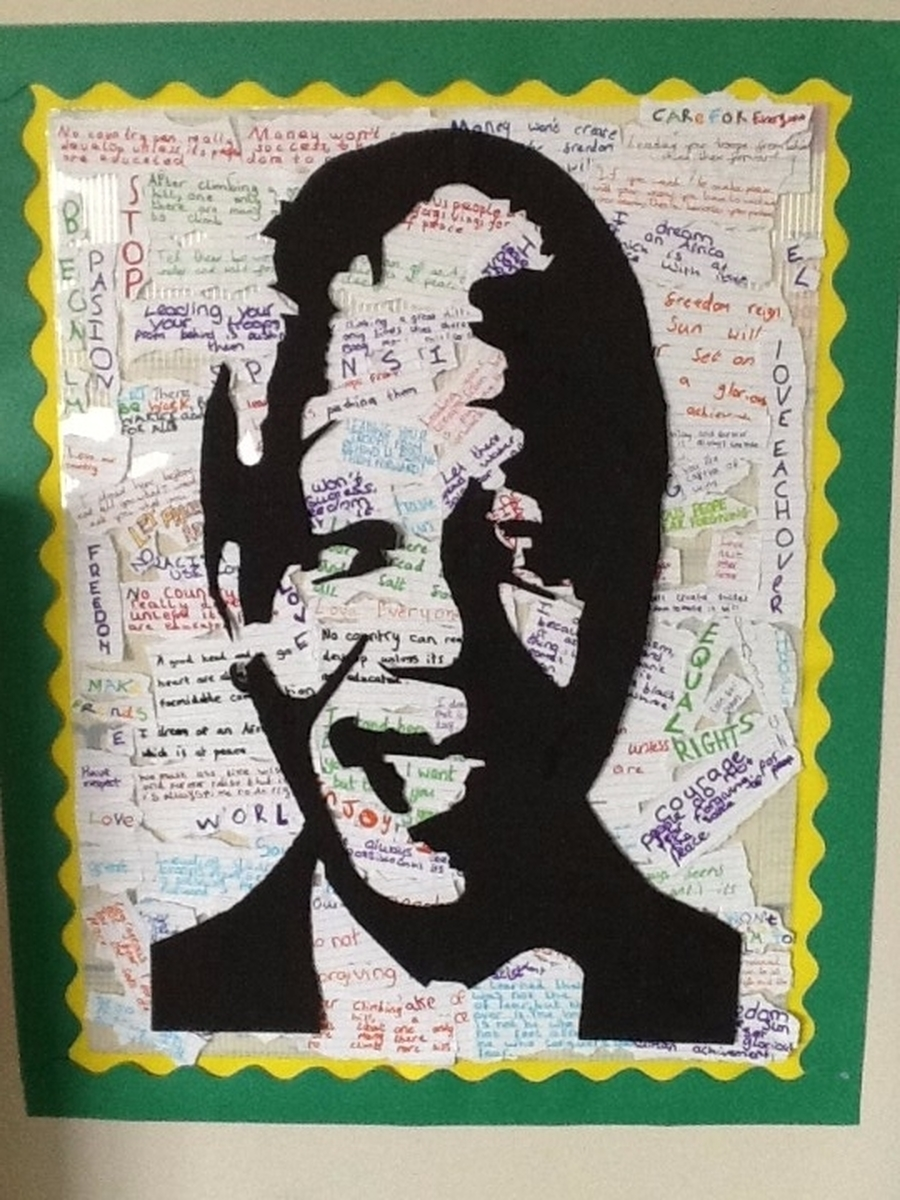 As part of our 'Come and See' lessons we have been researching the lives of people who have shown great courage and commitment. We read the life story of Nelson Mandela and produced this piece of artwork made up from some of his inspiring words.