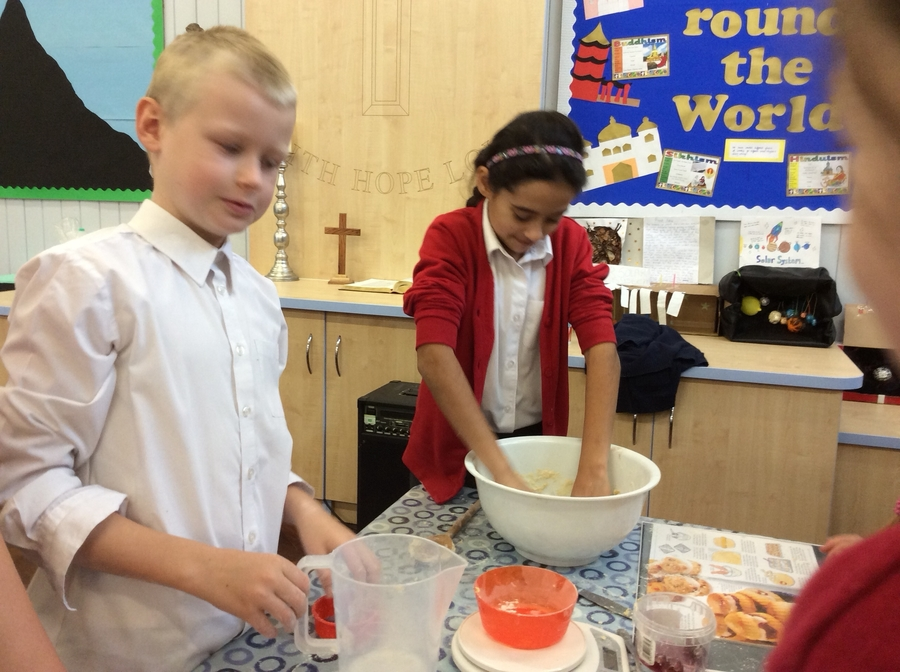 Our expert bakers busy making the scones.