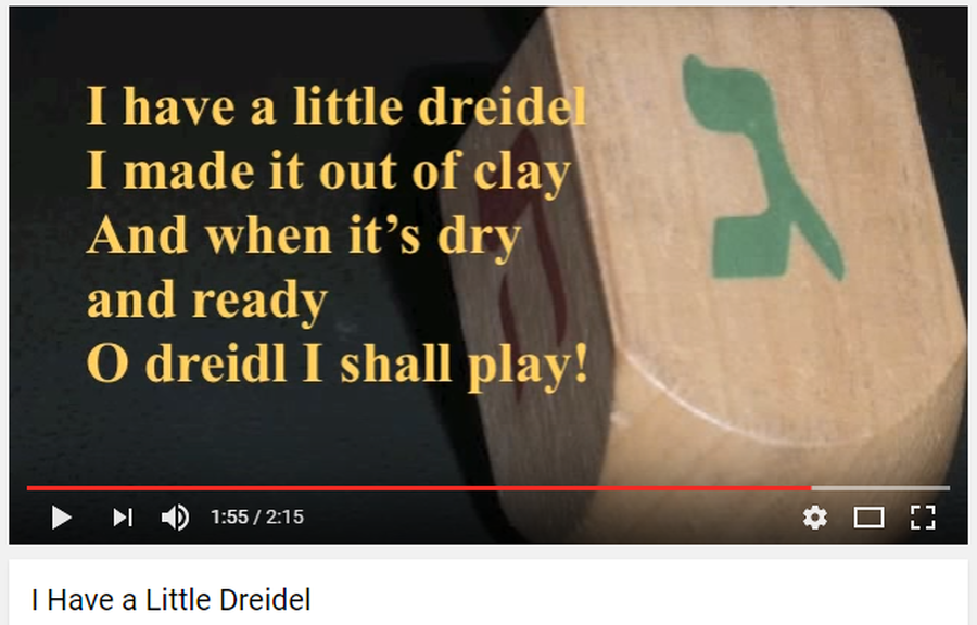Click on the picture to listen to the dreidel song