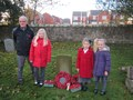 Jessica laid a wreath to remember him and Lexi and Holly read a verse from Flanders Field.