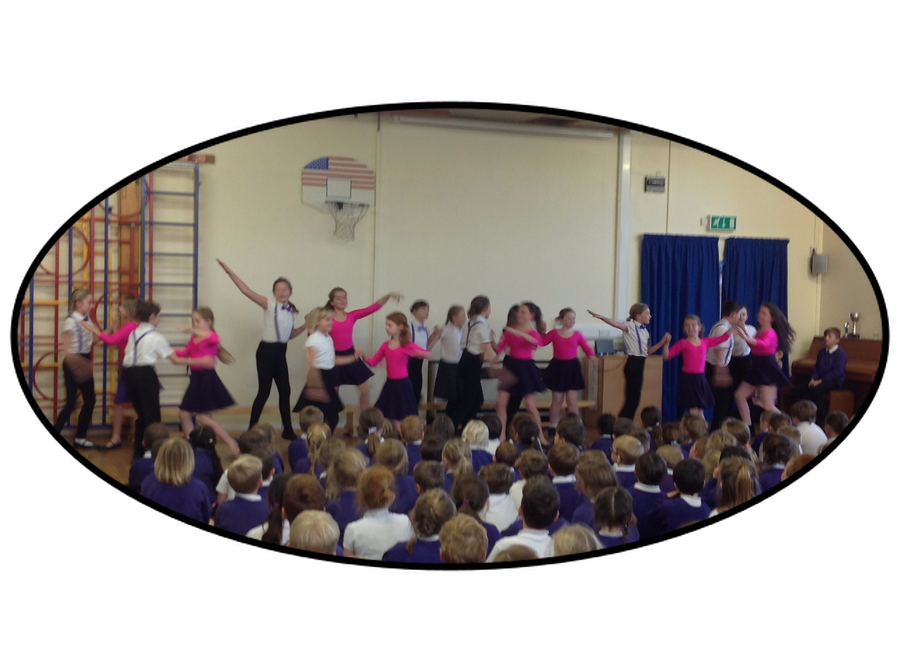 Year 5/6 Strictly Dancers performing in assembly