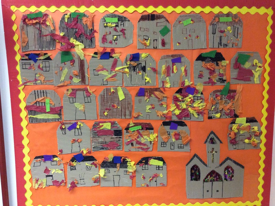 Our interpretation of the Great Fire of Wellingborough  1738 where Hannah Sparke  helped to save the town by soaking blankets in beer and throwing them on the thatched roofs.