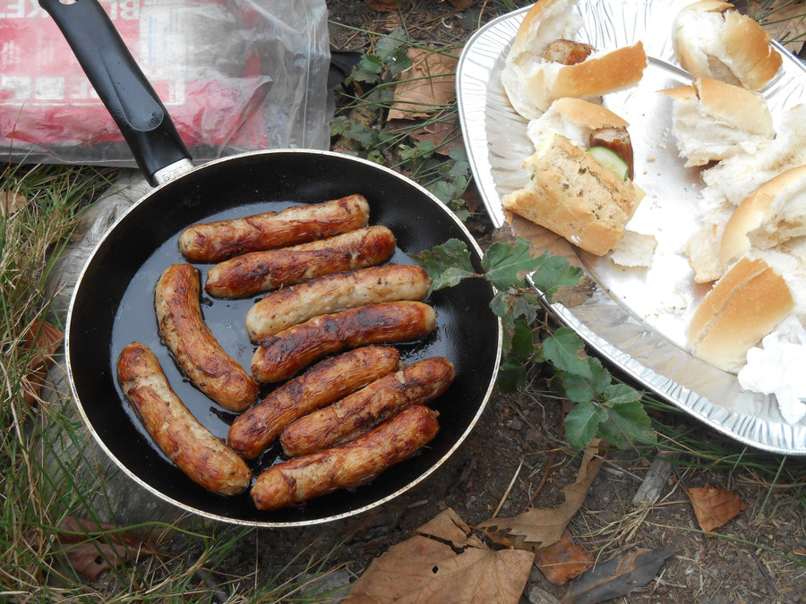 Lunch - sausages cooked on the fire pit.
