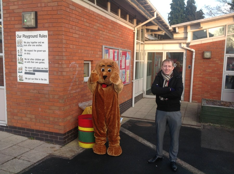 The Cottesbrooke Lion welcoming the children in to school